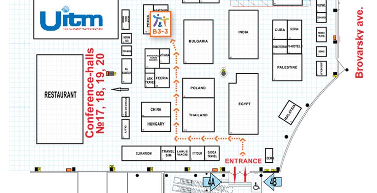 План-схема стенд В3-3. 26-й Международный туристический салон «Украина» - UITM'2019